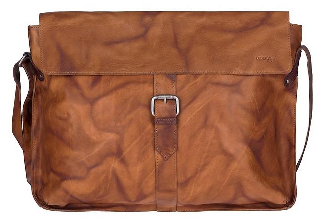 ESTELLE Kožená taška přes rameno vhodná na notebook 0844-03 koňak
