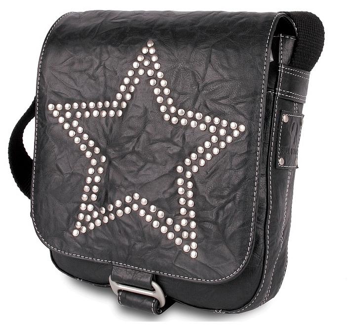 BULL&HUNT Kožená taška přes rameno MESSENGER SPEED METAL STAR - 31-0262 černá