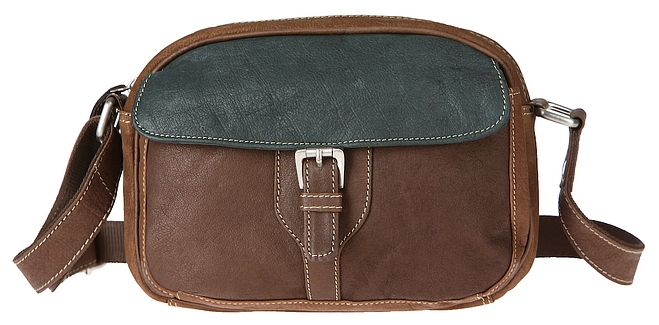 ESTELLE Kožená kabelka / taška na doklady 0722 hnědo-zelená
