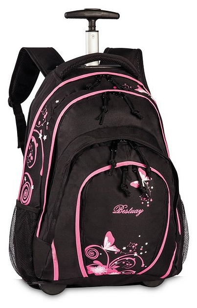 BestWay Školní batoh na kolečkách 40133-0122 černo - růžová