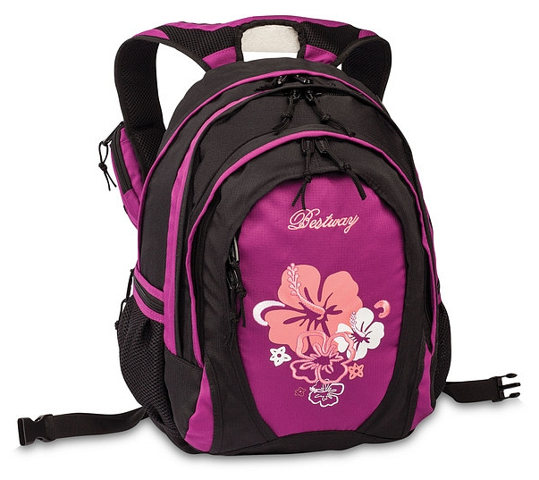 BestWay Školní batoh FLOWER 04567-0131 černá / pink
