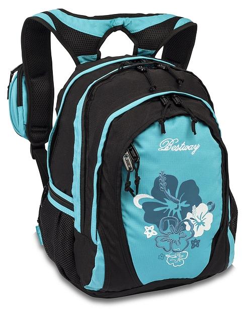 BestWay Školní batoh FLOWER 04567-0125 černo-tyrkysová