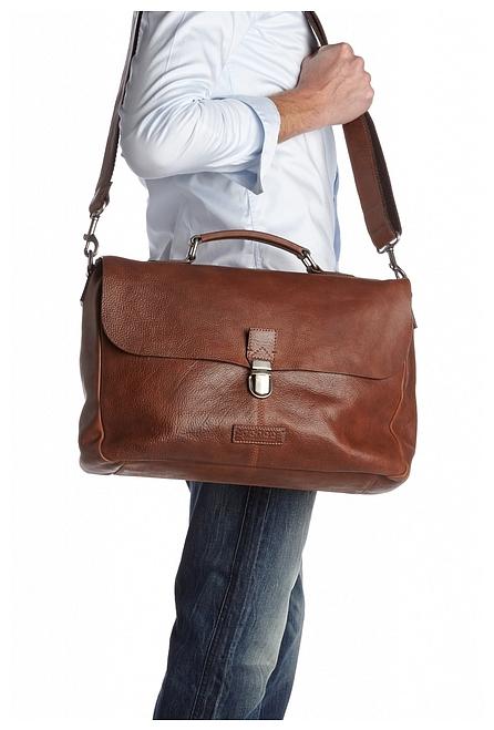 Castelijn & Beerens Kožená taška na notebook Peter 599480 hnědá