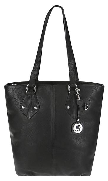 BODENSCHATZ Kožená shopper kabelka M-0182 IT TAKES TWO černá