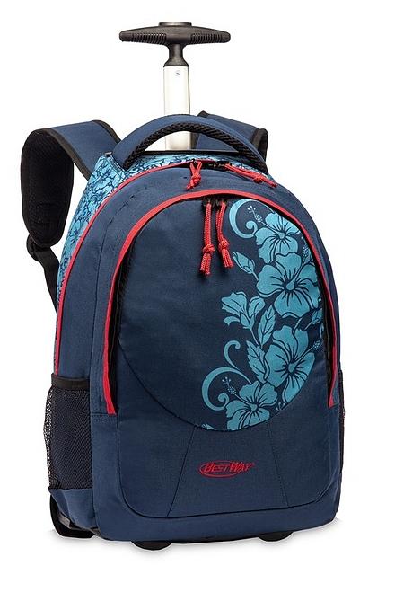 BestWay Školní batoh na kolečkách 40028-5052 modrá / korálová