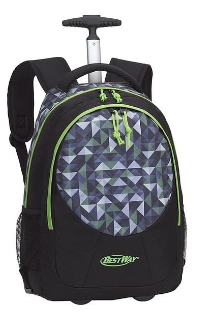 BestWay Školní batoh na kolečkách 40028-0133 černá / limetková