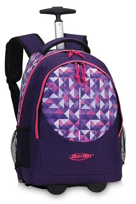 BestWay Školní batoh na kolečkách 40028-1901 fialový