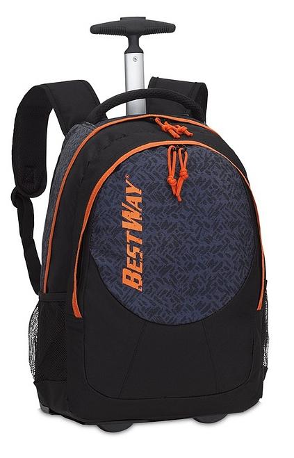 BestWay Školní batoh na kolečkách 40028-0114 černá   oranžová ab34bfa03d