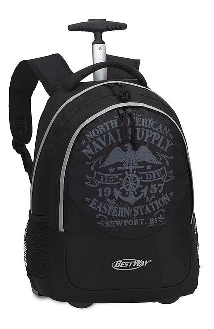 BestWay Školní batoh na kolečkách 40028-0127 černá / šedá
