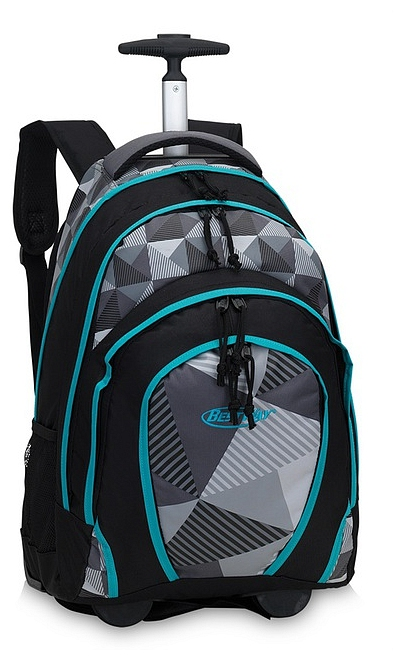BestWay Školní batoh na kolečkách 40133-0156 černá / šedá