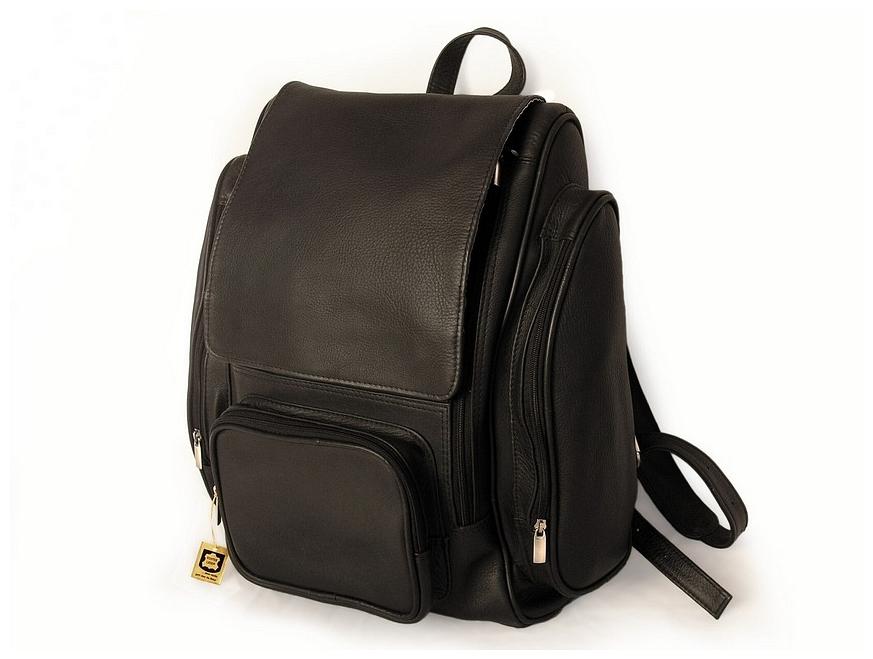 XL kožený batoh na notebook 709 černá